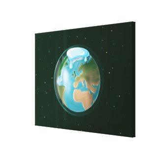 惑星の地球の溶ける凍嚢 キャンバスプリント