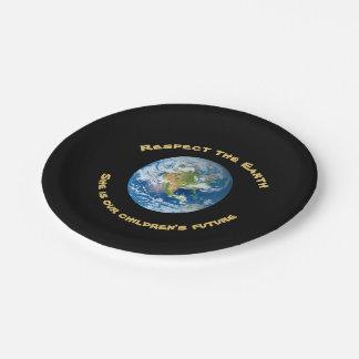 惑星の地球の点の紙皿 ペーパープレート