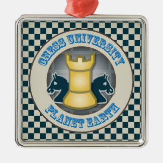 惑星の地球の紋章のチェス大学 シルバーカラー正方形オーナメント