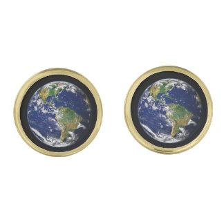 惑星の地球の自然な(太陽系) ~ ゴールド カフスボタン
