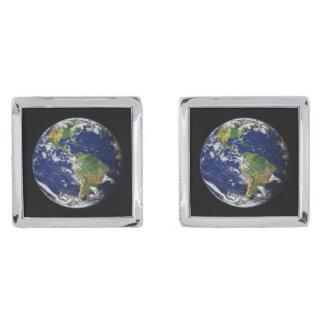 惑星の地球の自然な(太陽系) ~ 銀色 カフリンク