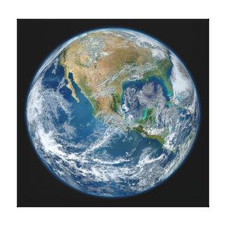 惑星の地球の青い大理石のイメージ キャンバスプリント