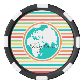惑星の地球は、明るい虹縞で飾ります カジノチップ