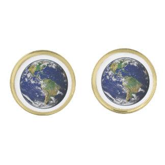 惑星の地球(太陽系)の~~ ゴールド カフスボタン
