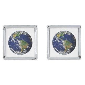 惑星の地球(太陽系)の~~ シルバー カフスボタン