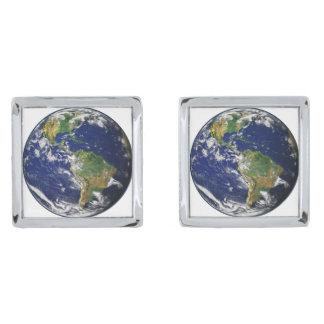 惑星の地球(太陽系)の~ シルバー カフスボタン