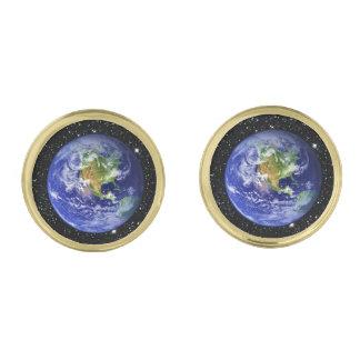 惑星の地球v3の星の背景(太陽系)の~ ゴールド カフスボタン