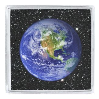 惑星の地球v3の星の背景(太陽系)の~ シルバー ラペルピン