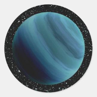 惑星の天王星の星の背景(太陽系)の~~ ラウンドシール