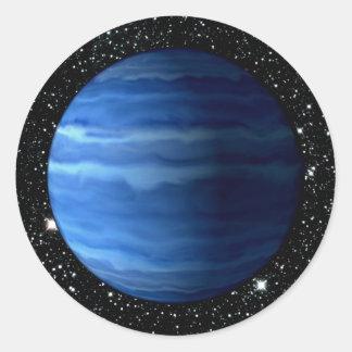 惑星の天王星v.2の星の背景(太陽系)の~ ラウンドシール