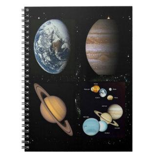 惑星の太陽系のコラージュのノート ノートブック