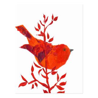惑星の最もかわいく赤い鳥 ポストカード