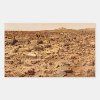 惑星の火星の岩が多い表面 長方形シール