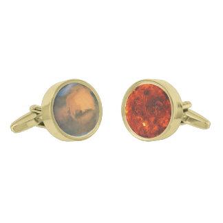 惑星の火星及び金星 ゴールド カフスボタン