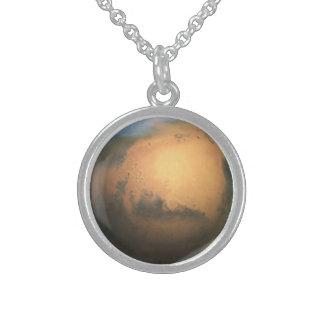 惑星の火星- 3D効果 スターリングシルバーネックレス