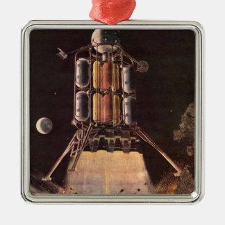惑星を離れて発破を掛けているヴィンテージの空想科学小説ロケット メタルオーナメント