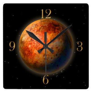 惑星プルート及び星の天文学恋人の柱時計 スクエア壁時計