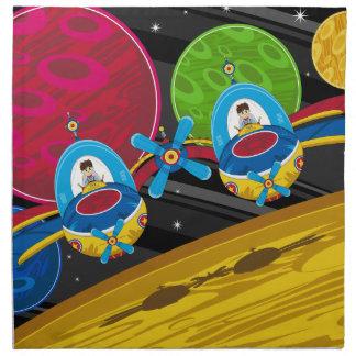 惑星上の宇宙船を飛ばしている宇宙飛行士 ナプキンクロス