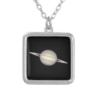 惑星土星 シルバープレートネックレス