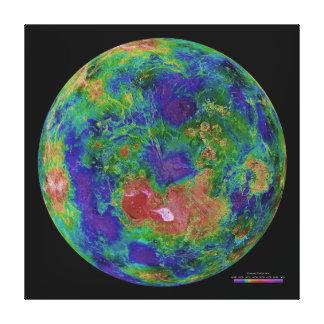 惑星金星の表面の高度の地図 キャンバスプリント