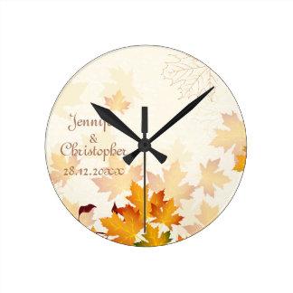 想い出の品を結婚する金紅葉 ラウンド壁時計