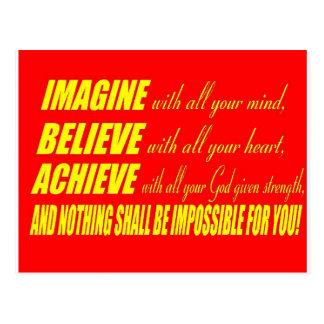 想像して下さい、信じて下さい、達成して下さい ポストカード