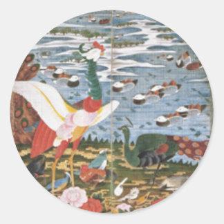 想像の鳥、動物および顕花植物 ラウンドシール