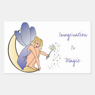 想像は魔法の妖精です 長方形シール