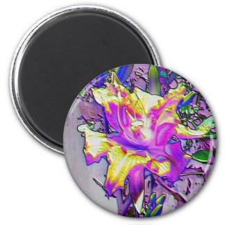 想像力に富む花#5の磁石-紫色及び黄色アイリス マグネット