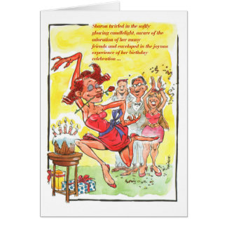 想像力に富む誕生日のダンスカードをしている女性 カード