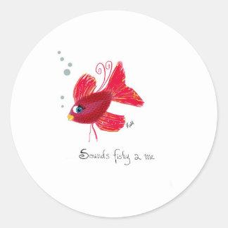 想像赤い魚 ラウンドシール