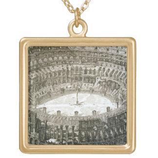 「意見oからのローマのColosseumの空中写真 ゴールドプレートネックレス