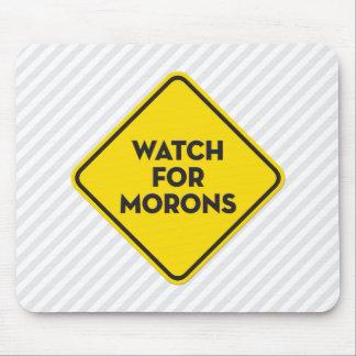 """""""愚か者のための腕時計""""の警告標識 マウスパッド"""