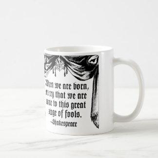 愚か者の引用文のマグ、シェークスピアのステージ コーヒーマグカップ