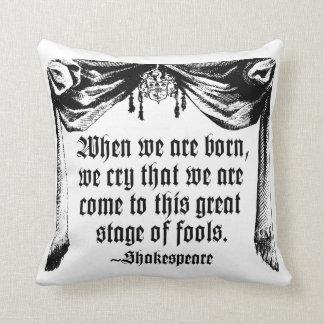 愚か者の引用文の枕、シェークスピアのステージ クッション