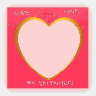 愛およびハートフレームはあなたの写真を加えます スクエアシール