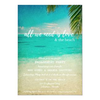 愛およびビーチの婚約パーティの招待状 カード
