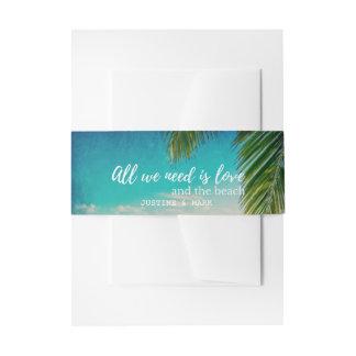 愛およびビーチ結婚式の招待状バンド 招待状ベリーバンド