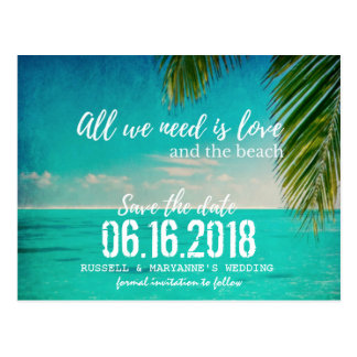 愛およびビーチ結婚式は日付の郵便はがきを救います ポストカード