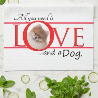 愛およびポメラニア犬の台所タオル キッチンタオル