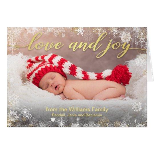 愛および喜びのクリスマスの休日の写真 カード