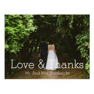 愛および感謝のシンプルな結婚式の写真は感謝していしています はがき