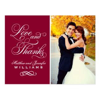 愛および感謝|のえんじ色の結婚式は感謝していしています ポストカード