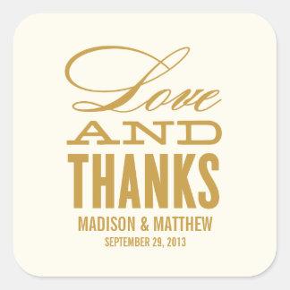 愛および感謝%PIPE%の結婚式の引き出物のラベル スクエアシール