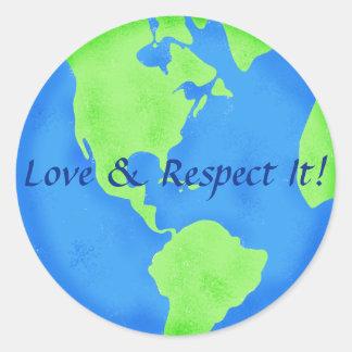 愛および点の地球の地球の青緑 ラウンドシール