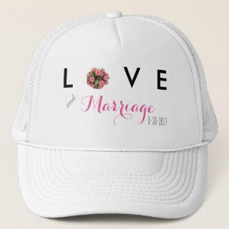 愛および結婚の日付がついた結婚式の帽子 キャップ