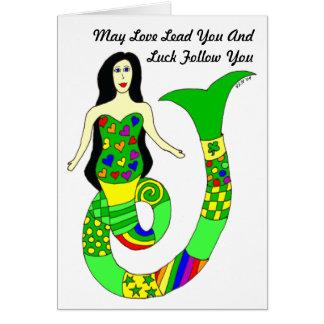 愛および運の人魚のセントパトリックの日カード カード