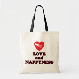 愛およびNappynessの自然な毛のファッション トートバッグ