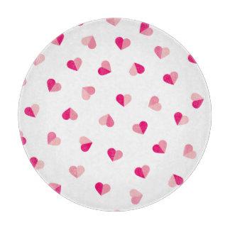 愛かわいいピンクのハートパターン カッティングボード