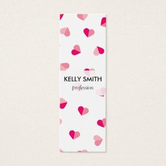 愛かわいいピンクのハートパターン スキニー名刺